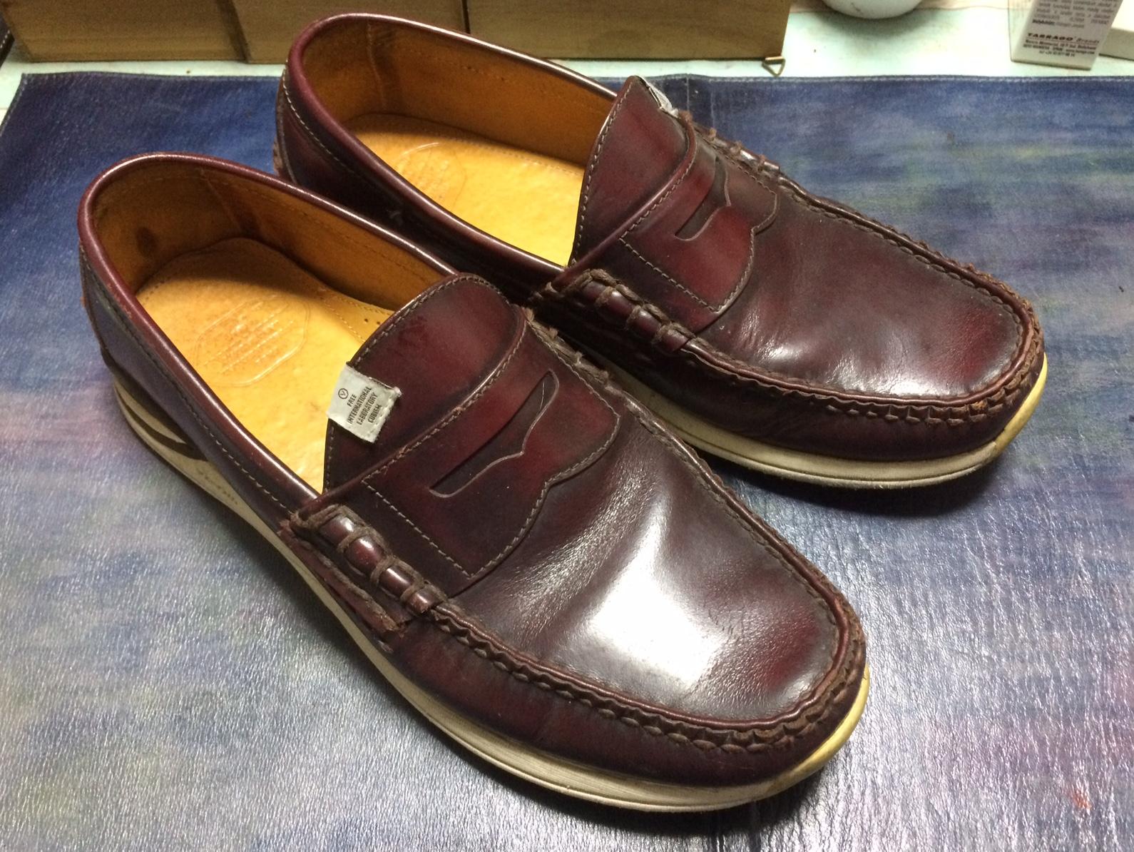 靴 染め替え ローファー