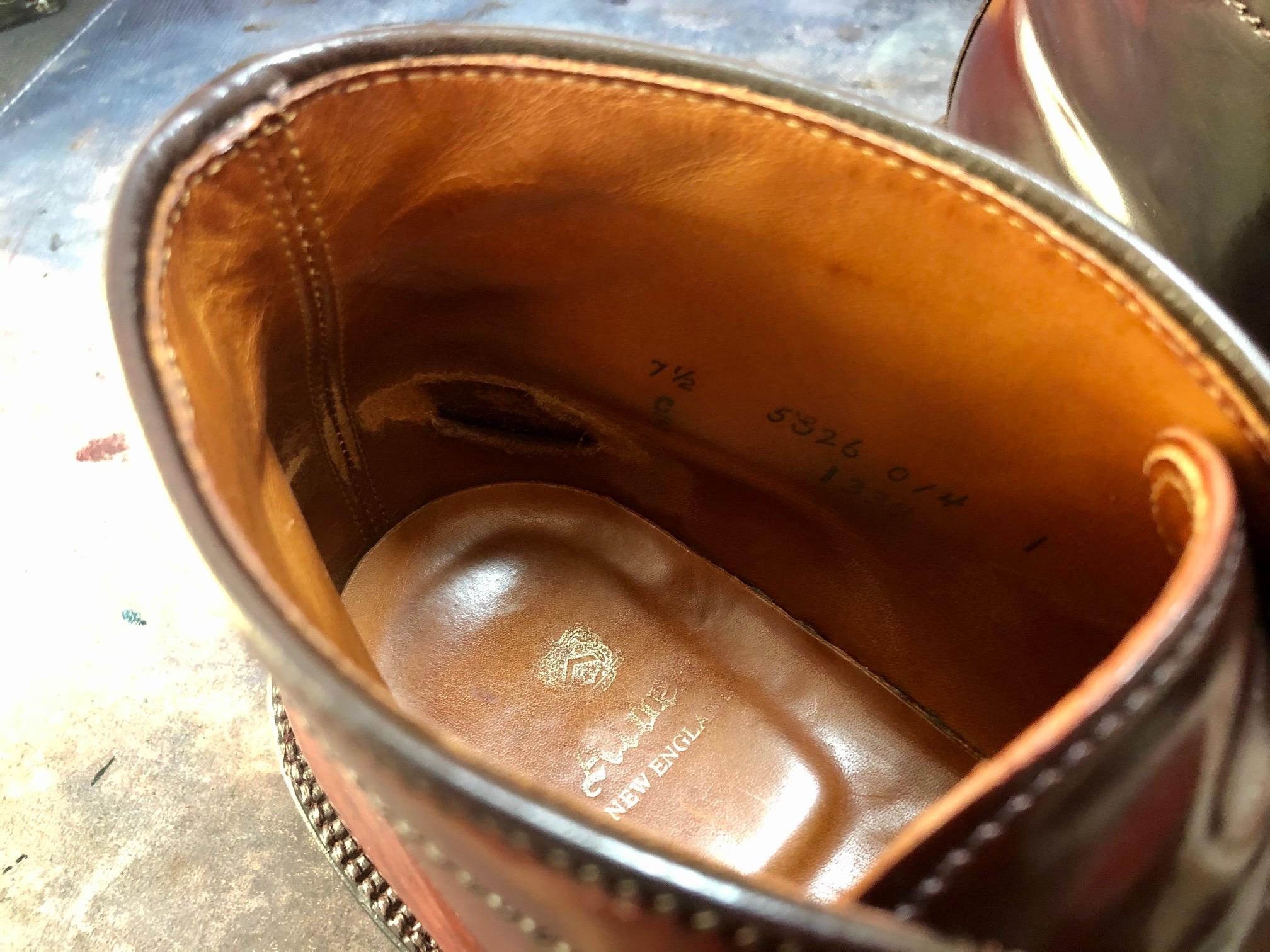 オールデン コードバン ブーツ 修理